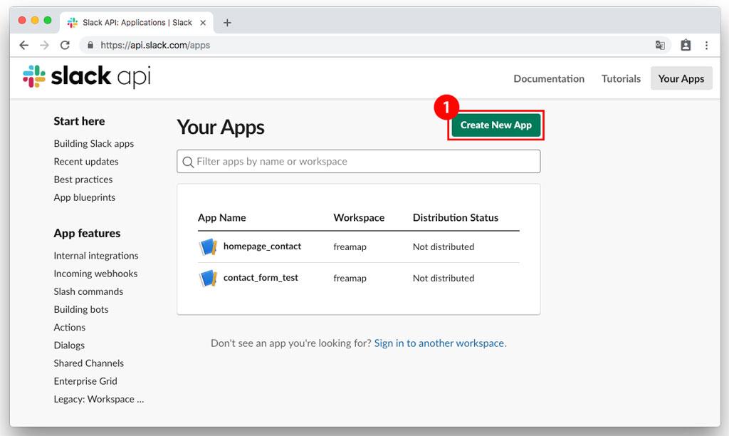 Slack App作成ボタンクリック
